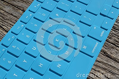 Blue Computer Keyboard On Gray Wooden Surface Free Public Domain Cc0 Image