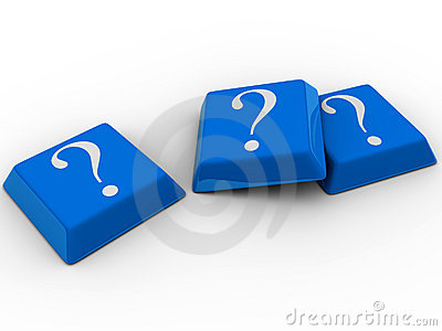 Blue computer keyboards with question mark