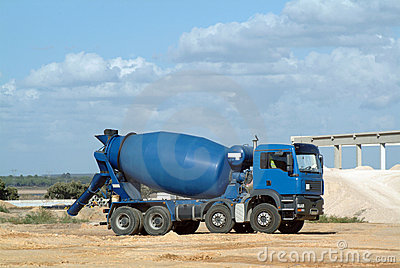 Blue concrete truck mixer
