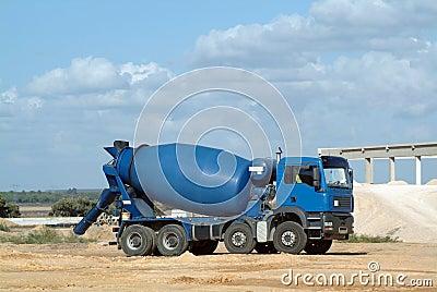 Blue concrete truck mixer