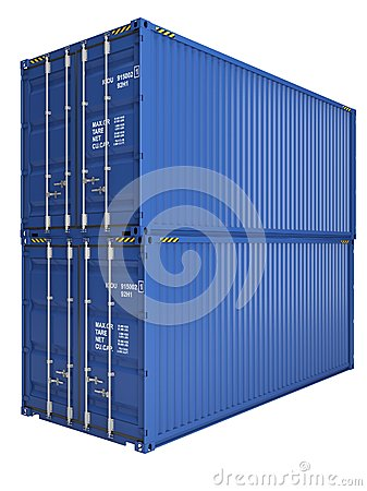 Free Blue Containers Royalty Free Stock Photography - 25435237