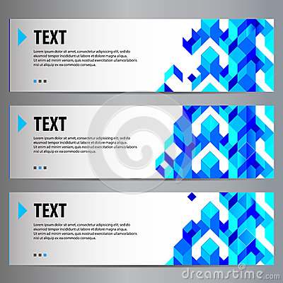 Blue content geometric banners (place for your text)