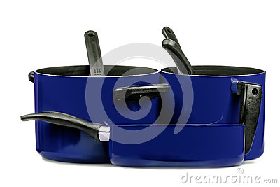 Blue cooking pans and pots