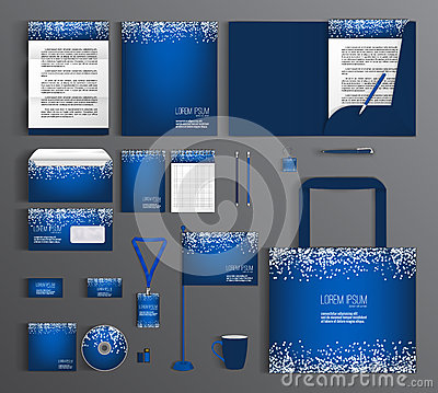 Free Blue Corporate Identity. Set With A Pattern Of White Circles Royalty Free Stock Photos - 74257688