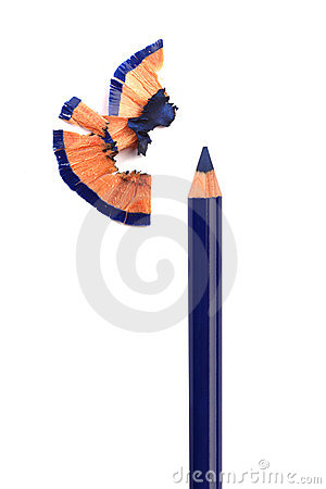 Free Blue Cosmetic Pencil Sharpening With Husk Stock Photos - 20330363