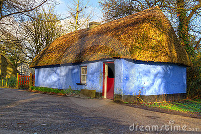 Blue cottage house in Bunratty Folk Park