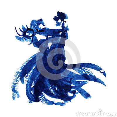 Free Blue Couple Dancing Lover Watercolor Painting Illustration Design Hand Drawn Stock Photo - 90088140