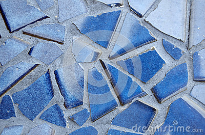 Blue Cracked Tiles In Grout