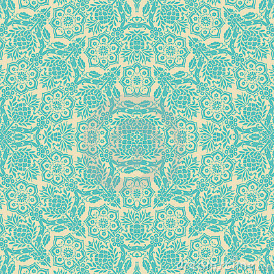 Blue cream floral damask seamless pattern