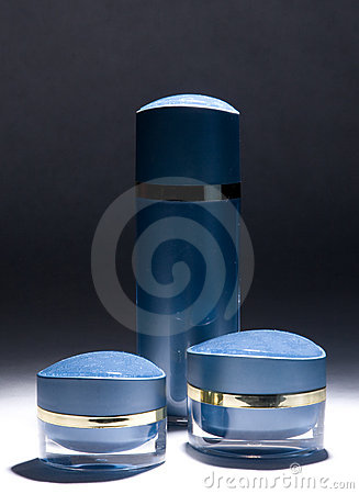 Blue cream jars and bottle