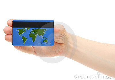 Blue credit card with world map Stock Photo