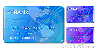 Blue credit and debit card icon set