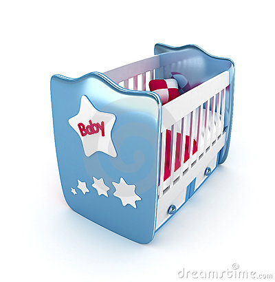 Blue crib isolated 3D