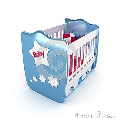 Blue crib isolated 3D