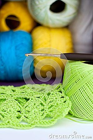 Crochet, yarn and crochet hook