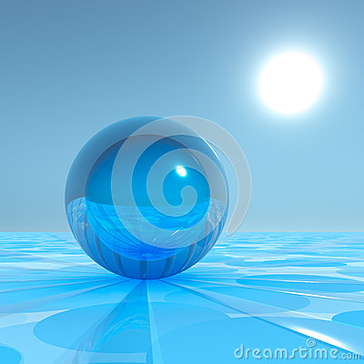 Free Blue Crystal Sphere On Surreal Horizon Stock Photography - 34233612