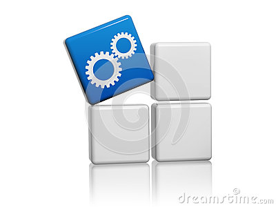 Blue cube with gear wheels symbol on boxes