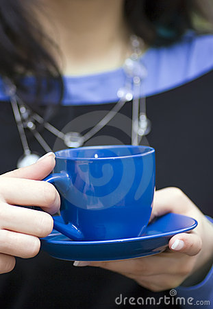 Free Blue Cup Of Coffee Royalty Free Stock Photos - 4938038