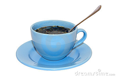 Blue cup and spoon