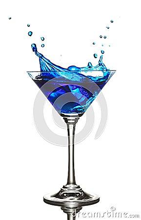 Free Blue Curacao Cocktail Splash Royalty Free Stock Photos - 3987388