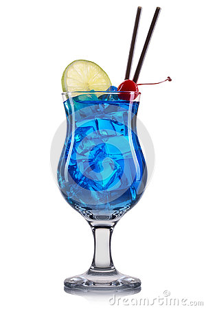 Free Blue Curacao Cocktail With Lime And Cherry Isolated On White Background Royalty Free Stock Photography - 75847787