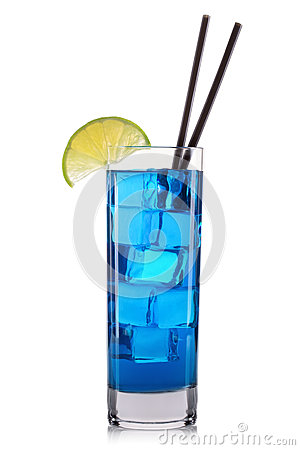 Free Blue Curacao Cocktail With Lime In Tall Glass Isolated On White Background Royalty Free Stock Images - 75888659