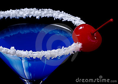 Blue Curacao with Coconut and Maraschino Cherry