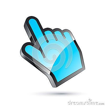 Blue cursor hand