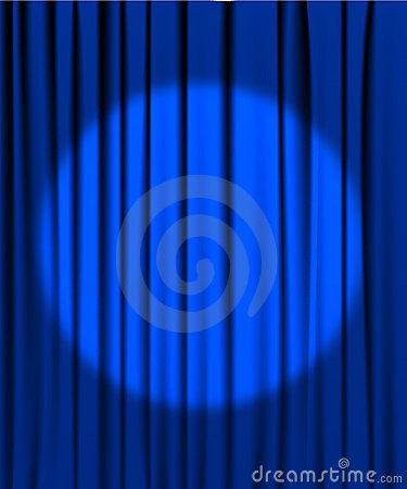 Blue curtain with a spotlight