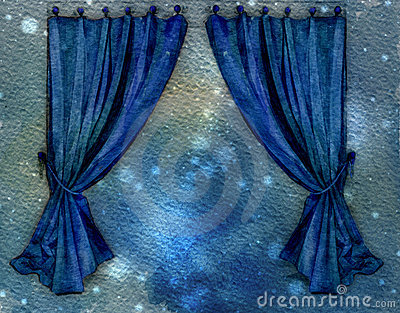 Blue Curtains. Watercolor