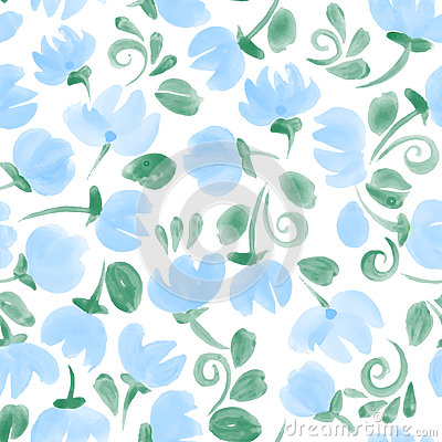 Free Blue Cute Watercolor Flowers Seamless Pattern Stock Image - 84151101