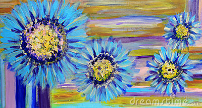 Blue Dairy Flowers Painting