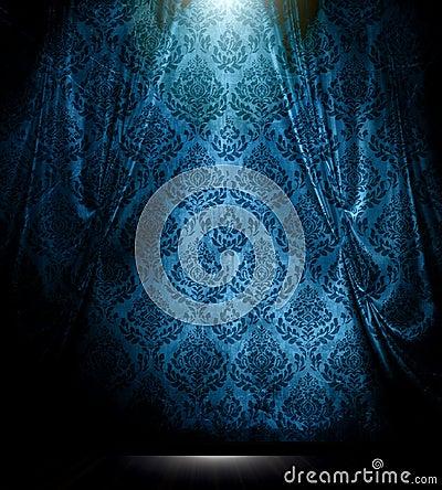 Blue damask drape background