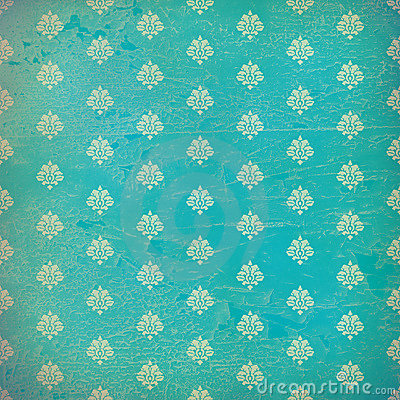 Free Blue Damask Grunge Wallpaper Royalty Free Stock Image - 7681776