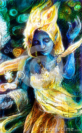 Free Blue Dancing Spirit In Golden Costume With Energy Lights, Mystic Stock Photo - 51679940
