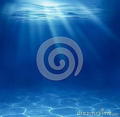 Blue deep sea underwater