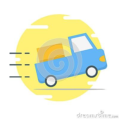 Blue delivery car illustration - vector Cartoon Illustration