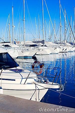 Blue Denia marina port in Alicante Spain