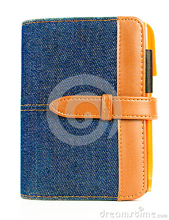 Blue denim notebook with pen