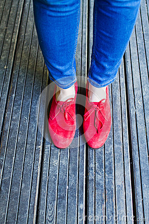 Blue denim and red shoes