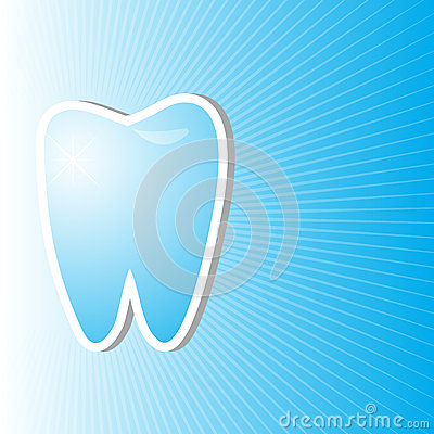 Blue dental background with clean and bright tooth