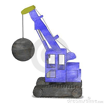 Blue destruction crane