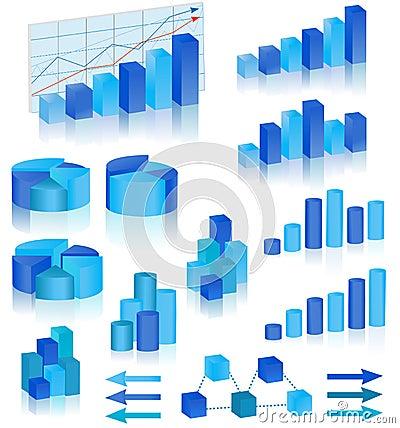 Blue diagrams set