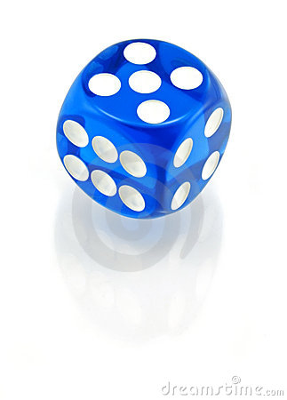 Blue Die on White - 5 on Top