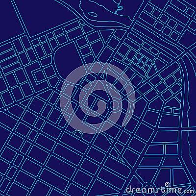 Blue digital map of a generic city
