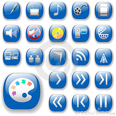 Free Blue Digital Media Art Icons Royalty Free Stock Images - 2476649