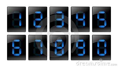 Blue digital number icons