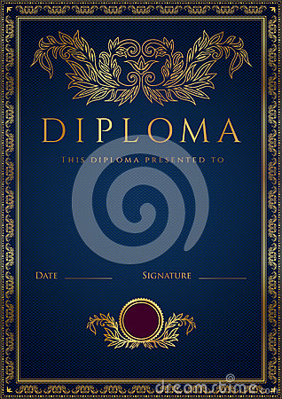 Blue Diploma / Certificate Background With Border Royalty ...