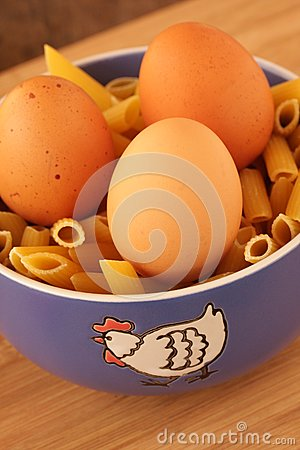 Blue dish with eggs