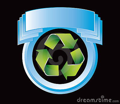 Blue display with green recycle symbol